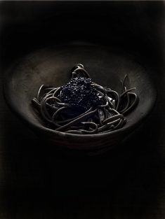 Squid ink pasta with caviar against black background – License high-quality food images for your projects – Rights managed and royalty free – 800354 Dark Photography, Food Photography Styling, Monochrome Photography, Photography Ideas, Caviar, Chefs, Black Pasta, Squid Ink Pasta, Black Food