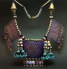 Afghanistan | Old Hazara necklace; silver and enamel plaques combined with silver, silver and enamel and glass beads