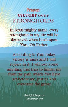 In Jesus mighty name, every stronghold in my life will be destroyed when I call upon You, Oh Father. According to You, today, victory is min...