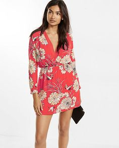 bird and floral print double surplice dress
