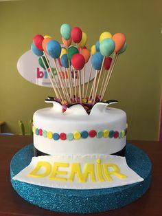 Balloon cake. Birthday cake. Colorful cake. Balonlu pasta. Doğum günü pastası.