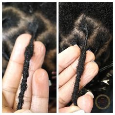 This is the beauty of hair locking! 😍 The pictures are 2 months apart and you can see how the budding process has started in the middle of the loc and on the right the budding is moving down the shaft of the loc— zoom in for a closer look! Thin Dreads, Small Dreads, Natural Dreads, Natural Hair Twists, Natural Hair Updo, Natural Hair Styles, Dreadlocks, Starting Dreads, Hair Starting