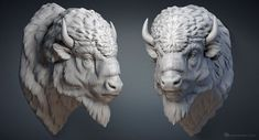 American bison buffalo head digital sculpture. 3D model for CNC, 3d printing. STL, OBJ: http://www.turbosquid.com/3d-models/3d-american-bison-buffalo-head/1048151/?referral=voronart
