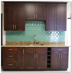 Espresso Shaker Kitchen Cabinet--my cabinets and counter top. thank you pinterest for finding my back splash!