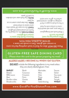 Eating Out Form | Good For You Gluten Free
