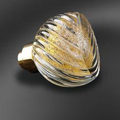 Bouton de porte verre soufflé Alberto Cannelé or & argent Collection Poignée Verre soufflé