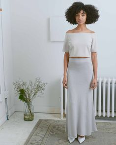 1684f5f147 Mijeong Park Grey Knit Maxi Skirt Grey Maxi Skirts, Wool Skirts, High  Waisted Skirt