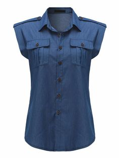 2018 Summer Women Denim Blue Shirts Vintage Buttons Blouses Sexy Sleeveless Jeans Casual Blusas Tops Plus Size Jeans Denim, Denim Top, Casual Jeans, Casual Tops, Blue Denim, Denim Shirts, Denim Blouse, Blouse Sexy, Blouse Outfit