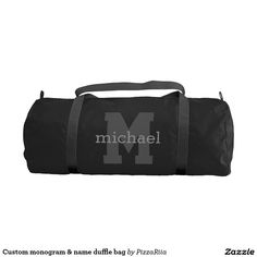 Custom monogram & name duffle bag gym duffle bag