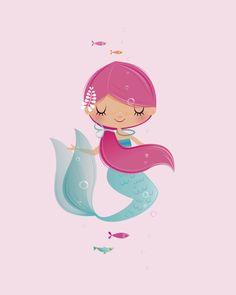 Mermaid nursery art girl nursery art gifts for her new Nursery Prints, Nursery Wall Art, Girl Nursery, Mermaid Nursery, Mermaid Art, Cute Mermaid, Image Deco, Mermaid Pictures, Baby Girl Gifts