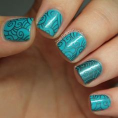 Try these simplified swirls using nail stamps. #nailart #naildesign #nailstamps
