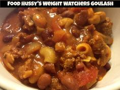 The Food Hussy!: Weight Watchers Goulash - 7 Points Plus! Goulash is the best comfort food! Macaroni, beans, hamburger, tomatoes and you're done! Plus - it's low in calories!!!