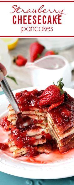 Easy Strawberry Cheesecake Pancakes = cheesecake filling + pancake dry ingredients + fresh strawberry syrup = cheesecake for breakfast! Yum I wish I could do this! What's For Breakfast, Breakfast Pancakes, Breakfast Dishes, Breakfast Recipes, Pancake Recipes, Mexican Breakfast, Waffle Recipes, Stuffed Pancake Recipe, Pancake Ideas