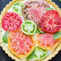 newest 3d1a8 4738f This Ricotta Heirloom Tomato Tart has a gluten-free cornmeal crust and  basil ricotta filling, topped with beautiful heirloom tomatoes! This simple  tart ...
