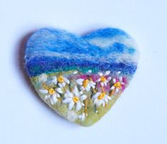 Needle felted brooch, 'Daisy Meadow' pin, Felt Brooch, wool, Valentine gift, Mothers Day, Heart, Spring, Choose Pin Shape