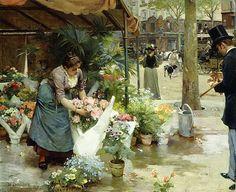 A Flower Market In Paris Louis de Schryver