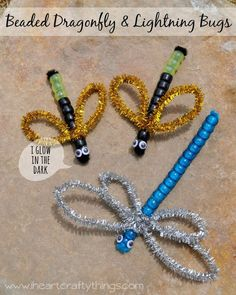 Beaded Dragonfly & Lightning Bugs Beaded Dragonfly and Lightning Bug Craft. Perfect summer craft for kids. The Lightning Bugs glow in the dark for added fun!Interdisciplinary Therapy Activity of the Week: Beaded Dragonfly & Lightning Bug Craft - pinn Insect Crafts, Vbs Crafts, Camping Crafts, Preschool Crafts, Bug Crafts Kids, Camping Ideas, Summer Crafts For Kids, Spring Crafts, Lightning Bug Crafts