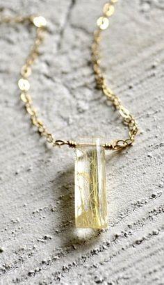 Gold rutilated quartz jewelry gold rutilated