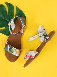 1759cce3558ee Flower Print Single Band Ankle Strap Flat Sandal WHITE MULTI