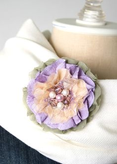Fabric Flower Pin, Easter Corsage, Lavender and Blush Corsage Pin, Textile Pin, Purple Corsage, Sash Pin