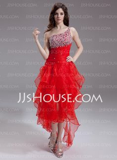 Prom Dresses - $149.99 - A-Line/Princess One-Shoulder Asymmetrical Organza Prom Dresses With Beading (022011238) http://jjshouse.com/A-line-Princess-One-shoulder-Asymmetrical-Organza-Prom-Dresses-With-Beading-022011238-g11238