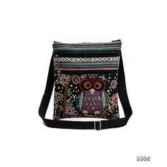 Owl Printed Double Zipper Female Mini Flap Shoulder Handbags