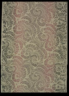 Object title: Wallpaper  Description: Partial roll. Diagonal rows of repeating, stylized flower blossoms and leaves. Printed in vertical stripes of blended pink and grey in imitation of rainbow paper.  Maker: unknown   Date: 1915-1935    Location of origin: United States  Places: United States    Descriptive terms: wallpapers    Dimensions: 19 1/4 (W) (inches)