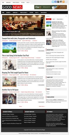 GoodNews Blogger Template:  GoodNews is a 2 Columns, Free Responsive Blogger Template for News Blogs. GoodNews Blogger Template has a Mobile Friendly Slider, 2 Dropdown Menus, Header Banner Widget, Google Fonts, Related Posts, Breadcrumb, Social and Share Buttons, Right Sidebar, 3 Columns Footer, Tabbed Widget and More Features.  https://www.premiumbloggertemplates.com/goodnews-blogger-template/