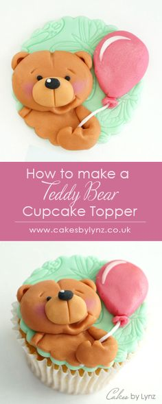 Learn how to make this Teddy Bear cupcake topper with a step by step video tutorial