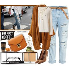 True Blue: Distressed Denim by firstclass1 on Polyvore featuring NSF, Sergio Rossi, Bergè, Umbra, Free People, Pier 1 Imports, MCM, ADAM, denim and cognac