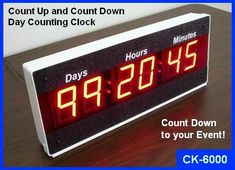 Event Countdown Clock and Count Up Timer with Days. Keeps you on track with your projects, product launches, and counting down to events. Event Countdown, Countdown Clock, Count Up Timer, Digital Timer, Digital Alarm Clock, Electronics, Usa, Design, Products