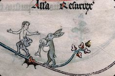 Bagpiping rabbit & bear-bottomed man. Impudent antics and visual puns are common in medieval marginalia. The bagpipe and its suggestive shape often occurs. Summer volume of the Breviary of Renaud/Marguerite de Bar, Metz ca. 1302-1305. Verdun, Bibliothèque municipale, ms. 107, fol. 96v