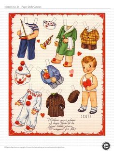 PAPER DOLL CUTOUTS - 3 sheets cute vintage Valentine Dolls - Digital collage 61. $3.00, via Etsy.