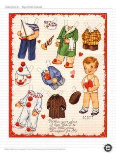 PAPER DOLL CUTOUTS - 3 sheets cute vintage Valentine Dolls - Digital collage 61. $3.00, via Etsy.