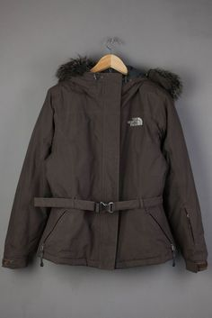 The North Face Jacket Women Ladies Brown Fur Size M Medium 550 Down
