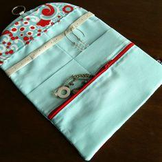 Travel Jewelry Organizer Clutch - Aqua and Red. $44.00, via Etsy.