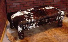 XL Cowhide Ottoman with Double row of Nail heads Cowhide Decor, Cowhide Furniture, Cowhide Ottoman, Western Furniture, Leather Furniture, Custom Furniture, Furniture Decor, Furniture Makeover, Southwestern Home Decor