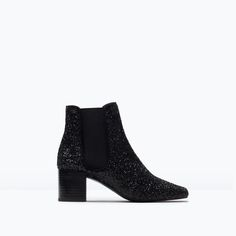 Zara Glitter Booties in Black Bootie Boots, Shoe Boots, Ankle Boots, Shoe Bag, Zara Lookbook, Mon Jeans, New Year's Eve Looks, Glitter Boots, New Years Eve Outfits
