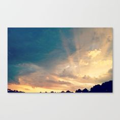"Sunset 1 print by LisaCarlene Designs for sale @society6. Fine art print on bright white, fine poly-cotton blend, matte canvas using latest generation Epson archival inks. Individually trimmed and hand stretched museum wrap over 1-1/2"" deep wood stretcher bars. Includes wall hanging hardware."