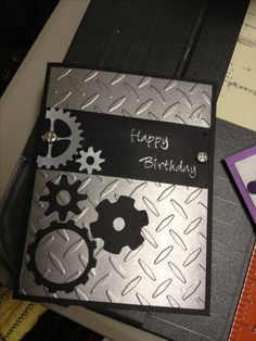 Masculine birthday card gears