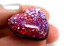 Lapel Pin Brooch  I Heart You  Red Glitter Heart by isewcute, $17.50