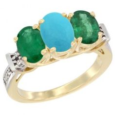 14K Yellow Gold Natural Turquoise