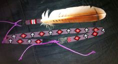 """Circle (8) Beaded hatbands """" hatband and matching beaded feather!!!!"""