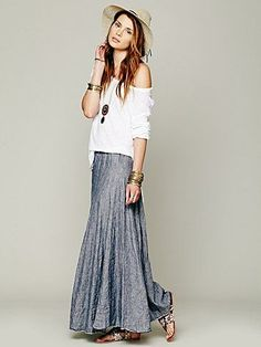 Free People Worker Stripe Chambray Maxi