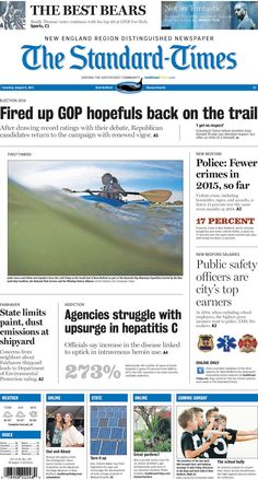 The Standard-Times. Aug. 8, 2015.  Police say crime is down in New Bedford; top earners for the city are in the public safety field; state limits emissions at Fairhaven Shipyard, and more.