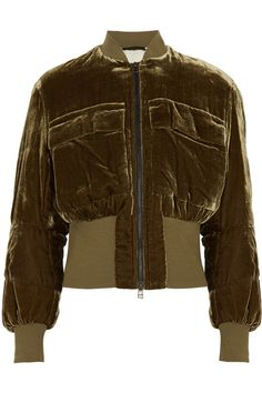 By Malene Birger - Banu Velvet Bomber Jacket - Army green