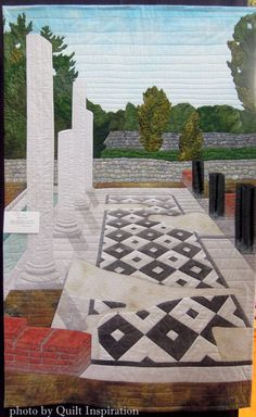 Roman Ruins by Aileyn Renli Ecob.  Featured Artist, 2015 DVQ show.  Photo by Quilt Inspiration.