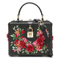 Dolce & Gabbana Studded Soft Bag (6,850 BAM) ❤ liked on Polyvore featuring bags, handbags, purses, studded purse, jewel purse, flower handbags, decorating bags and embellished handbags
