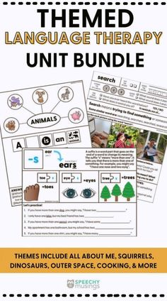 Ever wish you had themed speech therapy activities at the ready during different times of the school year? You need this speech therapy activity bundle! It comes with different themed bundles of language therapy units. This is a growing bundle so you will get a new themed unit every month! Themed include dinosaurs, spiders, cooking, squirrels, outer space, and more! Receptive Language, Speech And Language, Speech Therapy Activities, Language Activities, Figurative Language Activity, Squirrels, Spiders, Outer Space, Dinosaurs