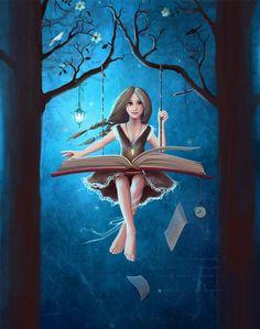 Me columpio con la lectura (ilustración de Veseja Menskaja)
